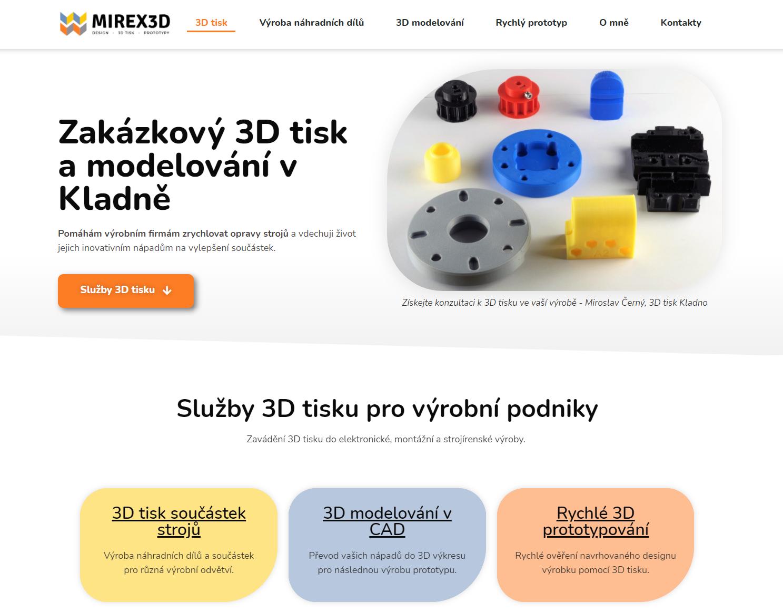 Copywriting a návrh webu od UX textaře pro Mirka Černého - machra na 3D tisk