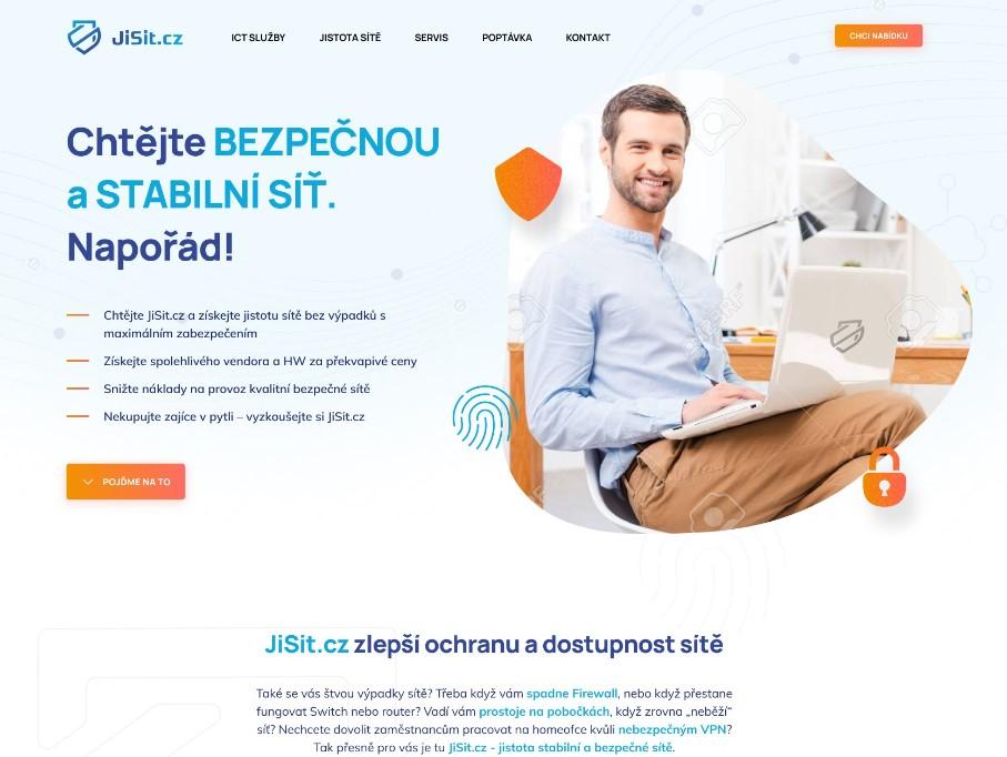 Copywriting a návrh webu od UX textaře pro JiSit.cz - pražskou ICT firmu se specializací na stabilní a bezpečnou podnikovou síť.